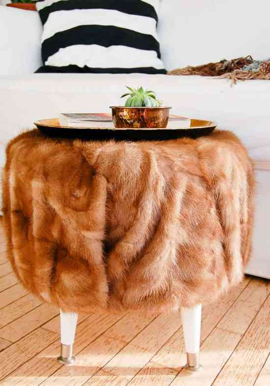 DIY Fur Ottoman from a cable spool