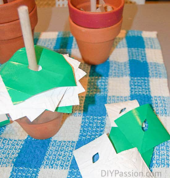 Using Paper Layers to make Potted Paper Christmas Trees