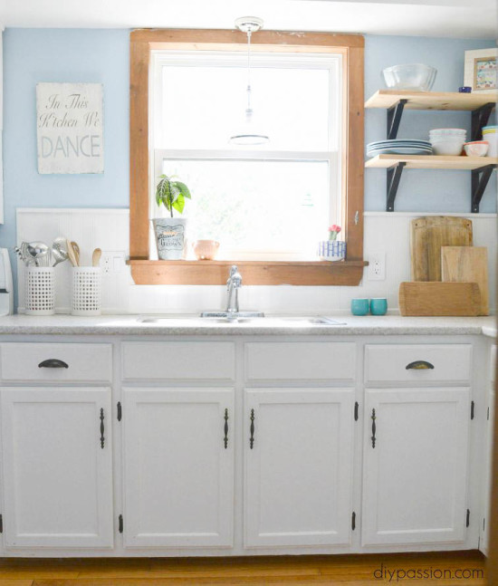 DIY White and Bright Builder Grade Kitchen