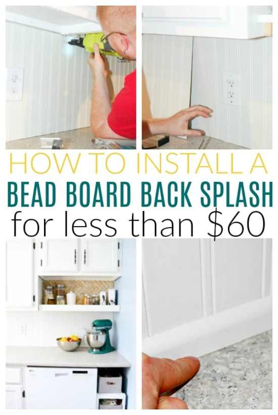 install bead board back splash