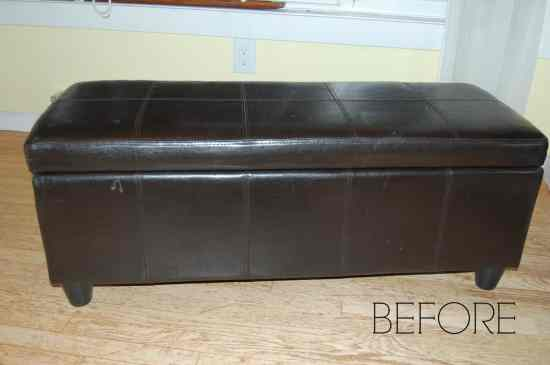 How to makeover a faux leather ottoman