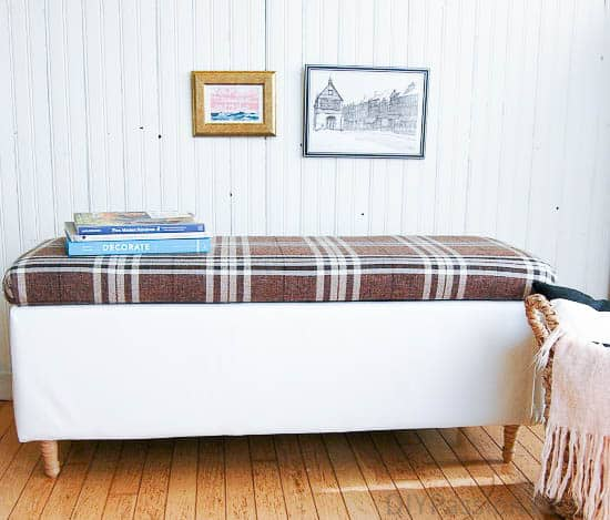 DIY Reupholstered Storage Ottoman in Bold Plaid