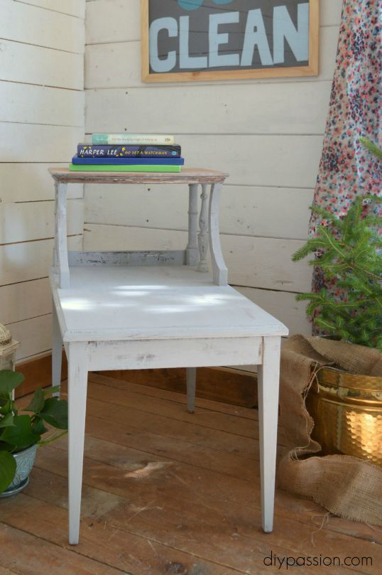 Stripped end table straight on