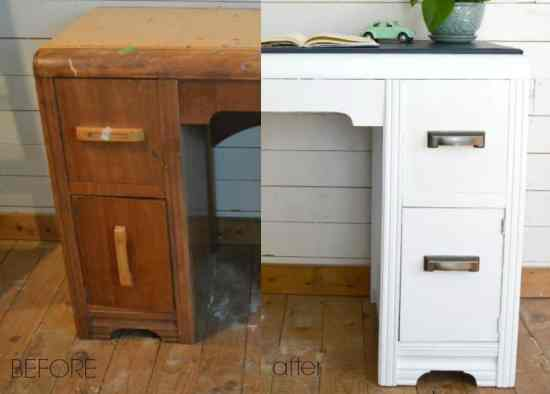Vintage Waterfall Desk Before and After