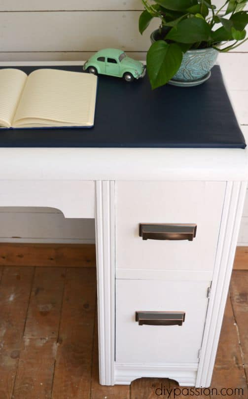 Vintage Painted Waterfall Desk in Navy and White