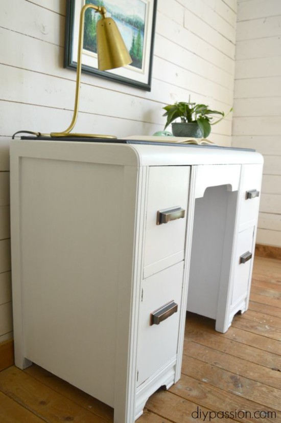 Vintage Painted Waterfall Desk with Brass Handles