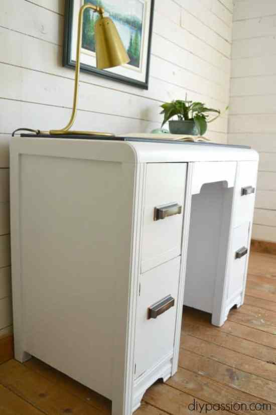 Vintage Waterfall Desk with Brass Handles