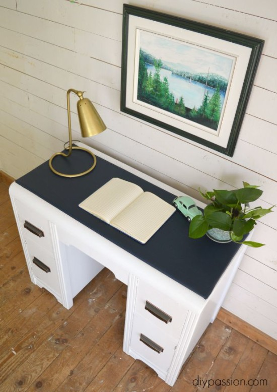 Vintage Painted Waterfall Desk with Vinyl Top Insert