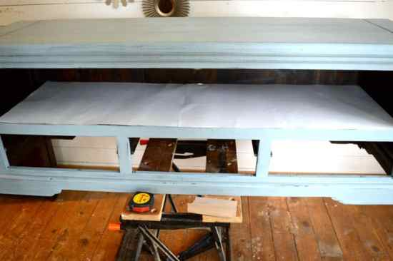 Beach TV Console Lining With Fabric Trick