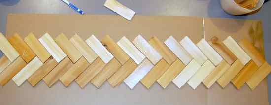 How to make a herringbone back splash - arrange your wood