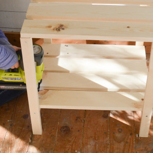 Add the slats to the table with glue and a nail gun