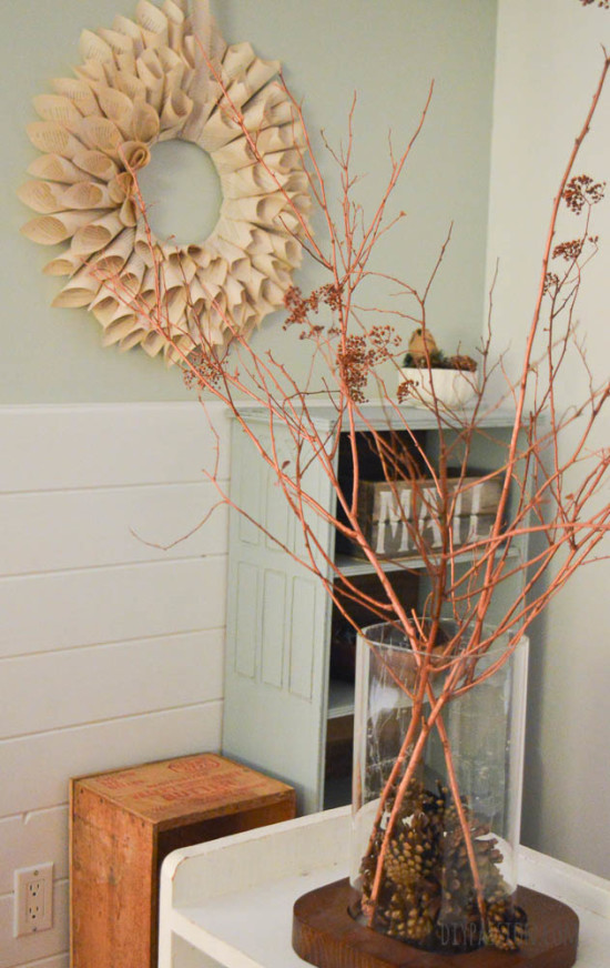 DIY Twig and Book Pages Advent Calendar