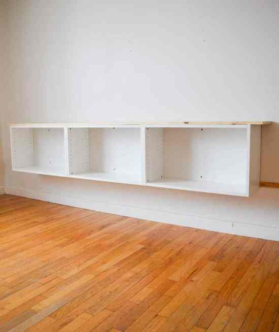 Floating living room cabinets DIY wall unit