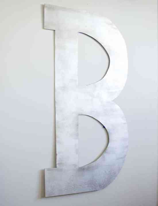 Faux Distressed Metal Letter B