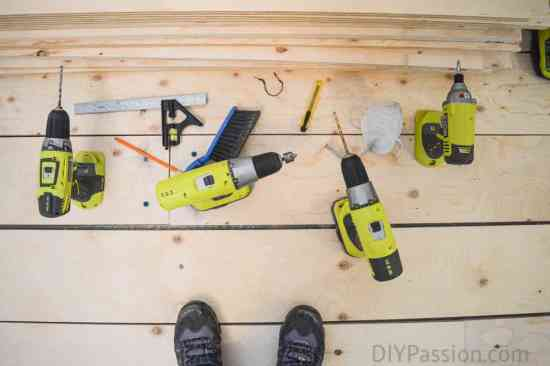 All the drills we used to plank the floor