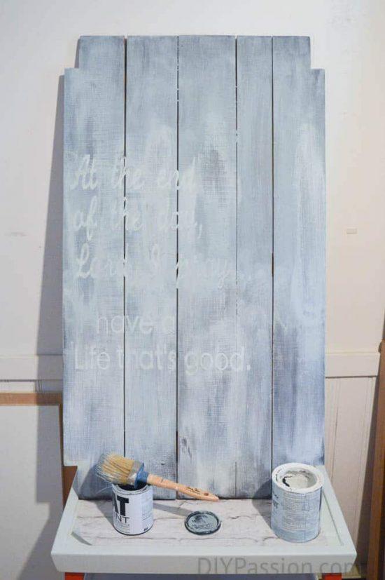 Blend Chalk paint over vinyl lettering