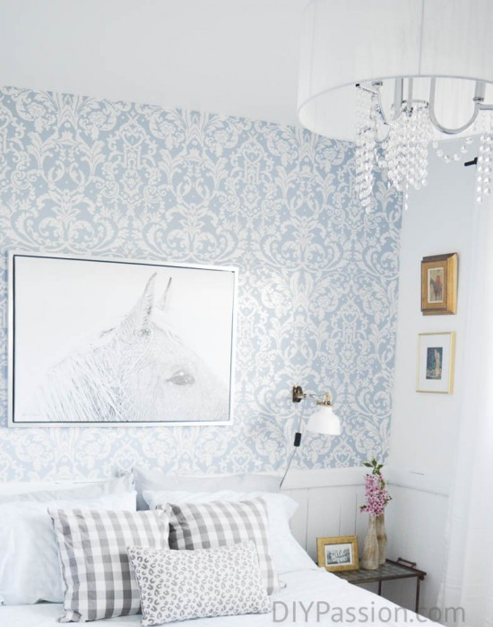 Crystal Chandelier in Guest Bedroom