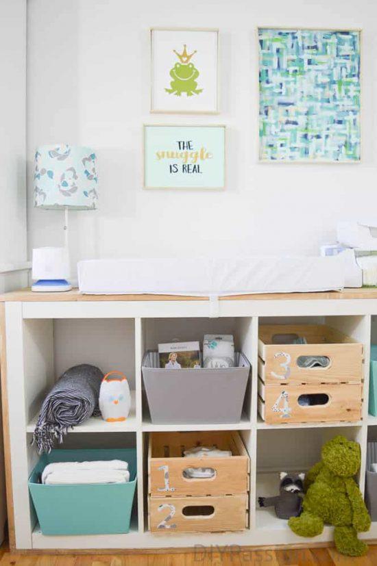 DIY aqua and grey nursery