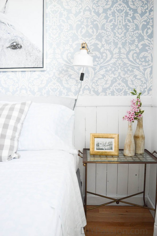Guest Bedroom with Coastal Feel and Floral Wall Paper