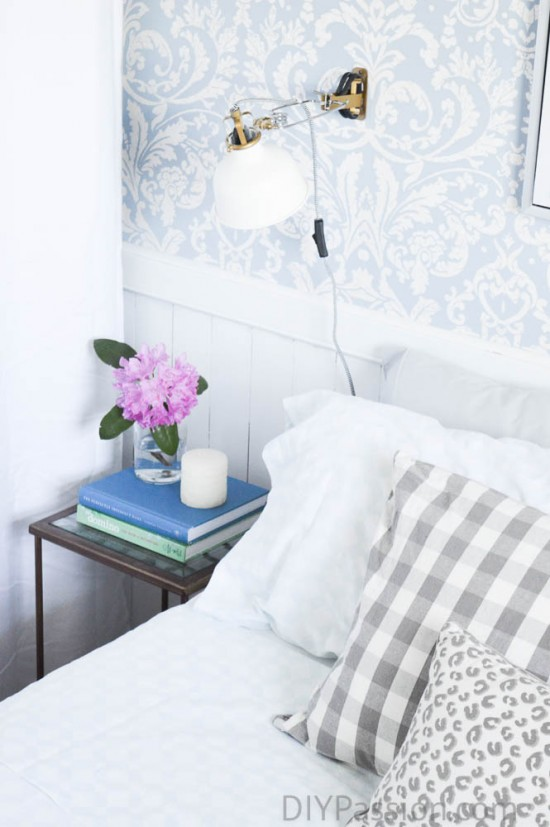 Guest Bedroom with small metal side tables