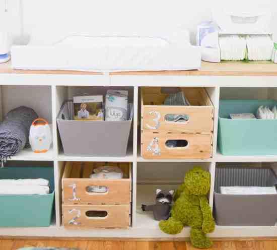 Numbered Storage Bins in the Nursery
