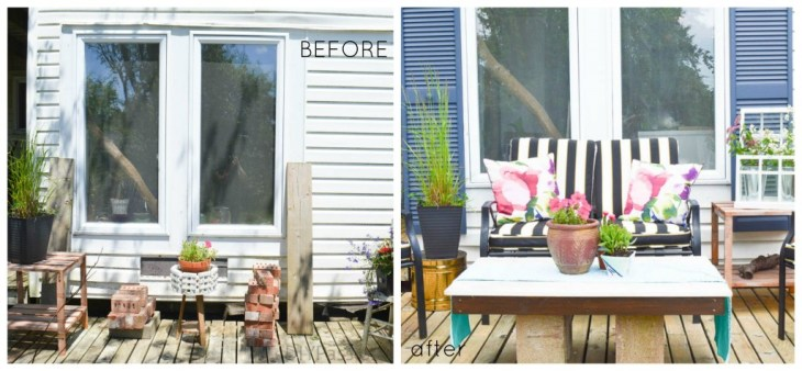 Before and After with Spray Painted Shutters