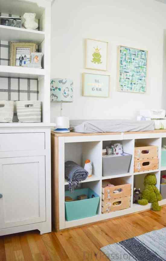Gender Neutral Nursery with DIY art and repurposed furniture