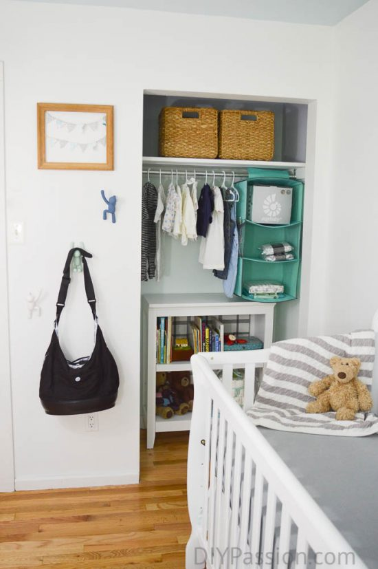 Gender Neutral Nursery with Wood and Aqua accents