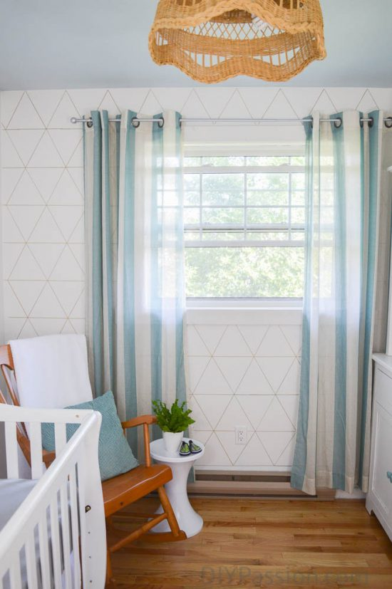Geometric Wall in the Nursery with Aqua accents