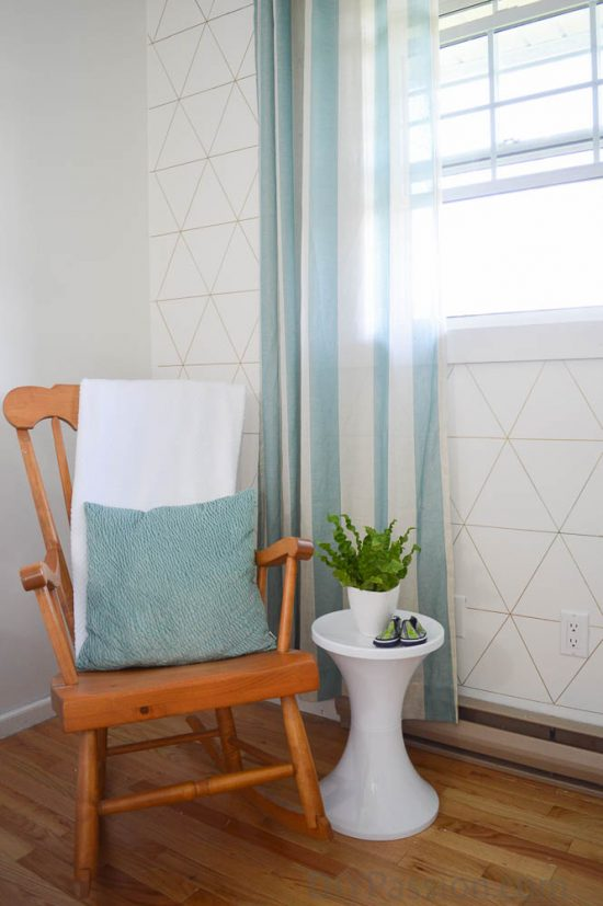 Rocking Chair nook with Geometric Wall