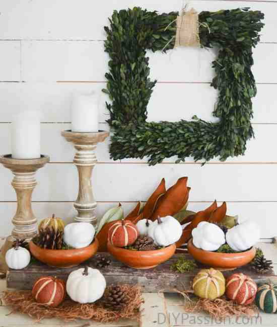 A festive display with reclaimed wood