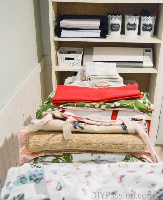 Make piles of your linens based on season