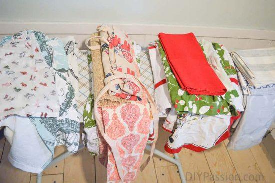 Pile clean linens according to season