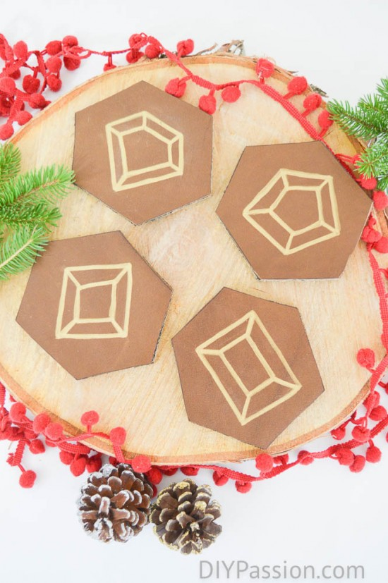 I Also Used Remnants To Whip Up These Adorable Holiday Themed Leather  Coasters! This One Was A Simple Project That You Can DEFINITELY Do With The  Kids.