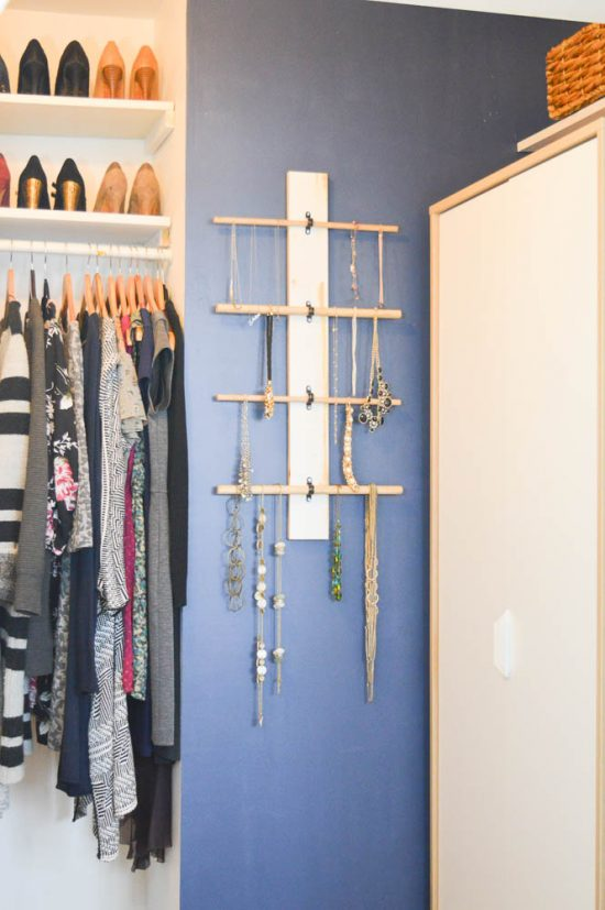 How to Make a Classic Jewelry Wall Organizer with Dowels DIY Passion