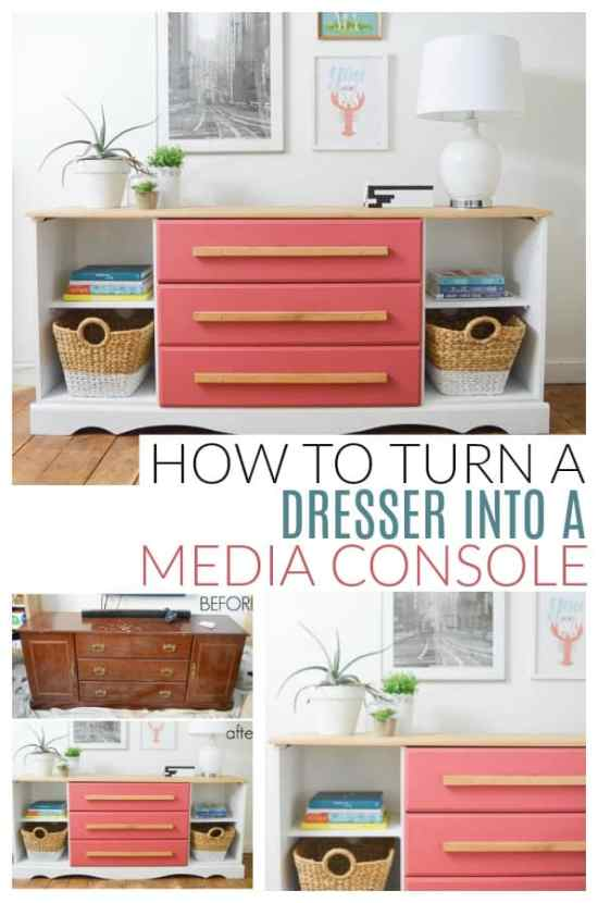 turn a dresser into a media console