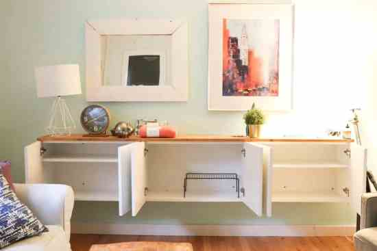 white cabinet living room diy