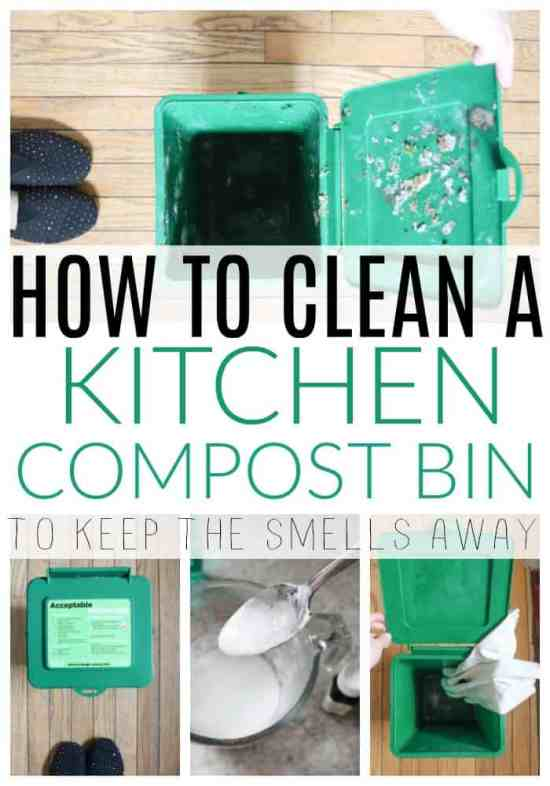 deep cleaning a kitchen compost bin