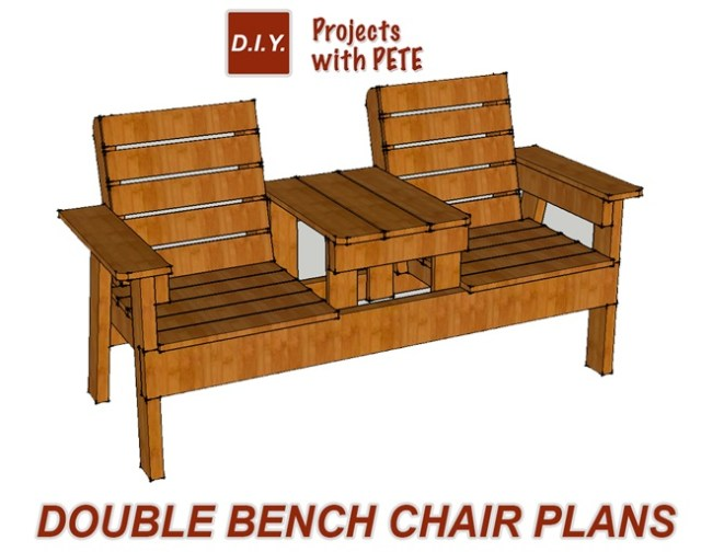 Free Patio Chair Plans - How to Build a Double Chair Bench with Table