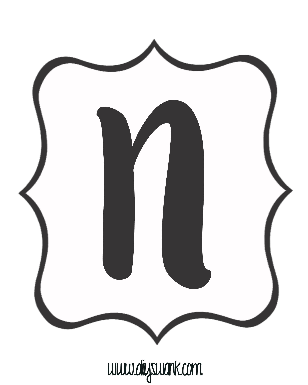 White And Black Letter N