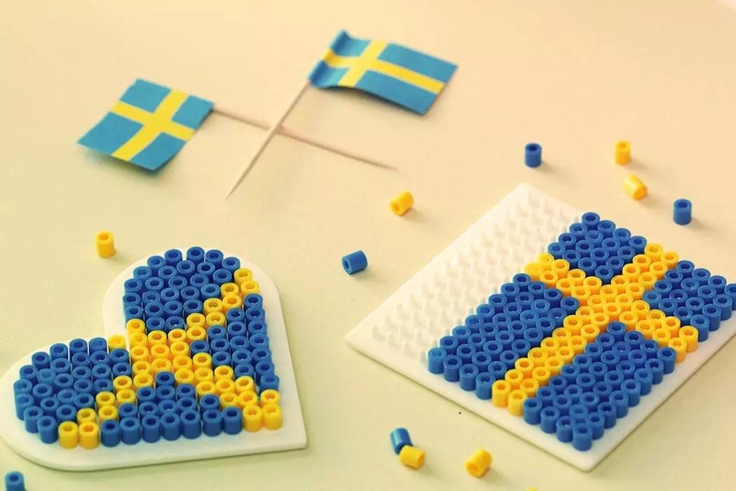 Svenska Flaggan Pärlplatta Diy Sweden