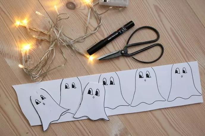 halloweenpyssel: spökljusslinga