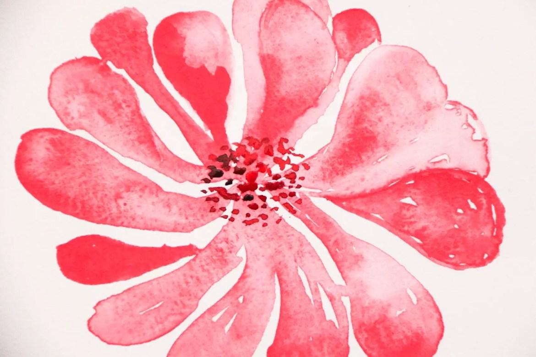 Akvarallmålning - blommor