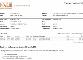 Inca Rail Payment Voucher