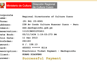 Machu Picchu Online Payment Receipt