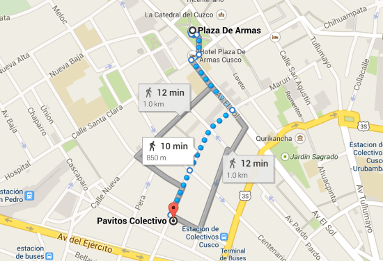 Directions for Calle Pavitos Colectivo from Plaza de Armas