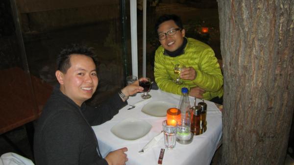 Charles Huang and Toshikazu Kobayashi in Athens Restaurant