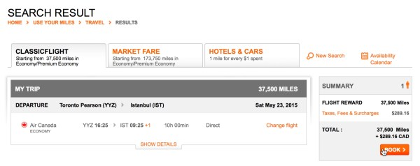 Air Canada Surcharge for Toronto to Istanbul
