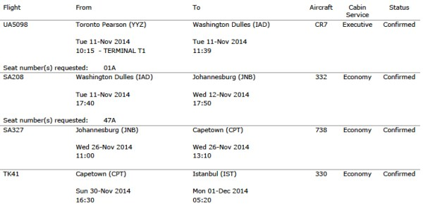 Itineraries for Toronto, Johannesburg, Cape Town, Istanbul