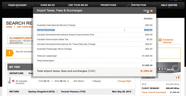 Example of Air Canada surcharge.